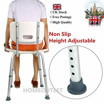 Aluminium Bath Shower Seat Stool Chair Adjustable Mobility Disability Aid DE