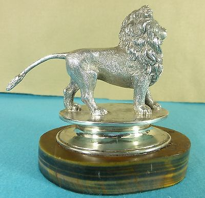 Superb Victorian Sterling Silver Tiger Eye Stone Statue Chase Standing Lion 1840
