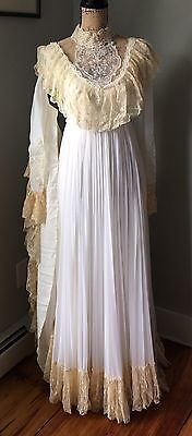 Vintage 60's 70's Boho Lace High Neck Prairie Spring Wedding Gown Dress Union 4*