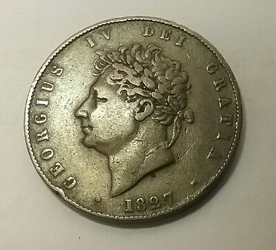 Rare 1827 King George 1V Halfpenny. A very rare  coin and in good grade.