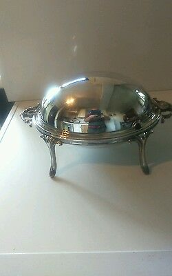Wonderful Antique Ornate  Silver Plated Dome Shaped Tureen With Revolving. Cover