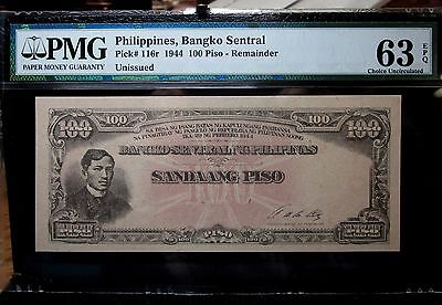 1944 Philippines 100 Piso Remainder ✪ Pmg 63-Epq ✪ 116R Bangko Sentral ◢Trusted◣