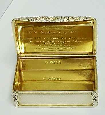 superb william IV solid silver table snuff box london  1835