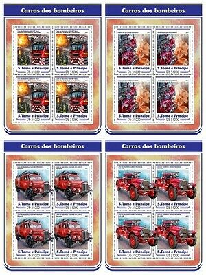 Z08 IMPERF ST17203c Sao Tome and Principe 2017 Fire engines MNH Mint