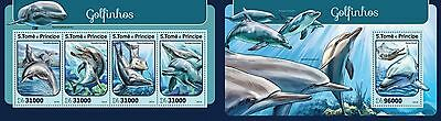 Z08 ST16408ab Sao Tome and Principe 2016 Dolphins MNH Set
