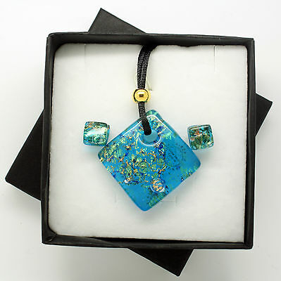 Blue and Gold Murano Glass Pendant and Stud Earrings Set from Venice