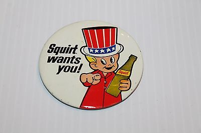 "Vtg 3"" Squirt Soda Celluloid Advertising Pin Back Button ""Squirt wants you!"""