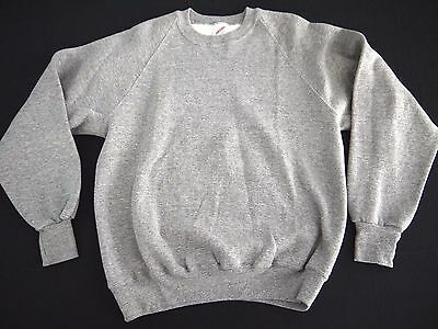 VINTAGE TRI BLEND rayon BLANK crew neck sweatshirt Jerzees made in USA L euc