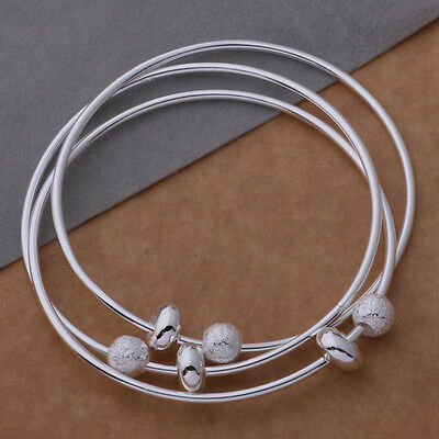 "Women's 925 Sterling Silver Triple Wire Beaded Bangle Size 7- 7.5"" USA"