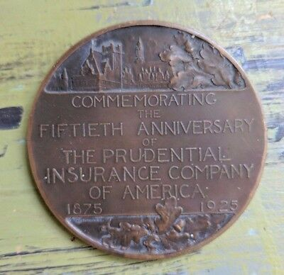 "1925 Prudential Insurance Company 50th Anniversary 3"" Bronze Medal Coin"