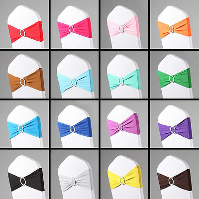 50PCS LYCRA SPANDEX CHAIR BAND WITH BUCKLE FOR CHAIR COVER Wedding Decor Party