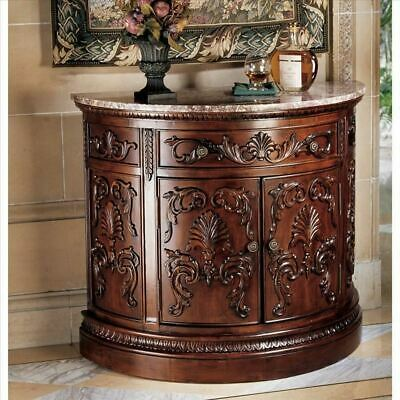 """Hand-Carved Mahogany Julien Crescent 35"""" Natural Marble Topped Console Table"""