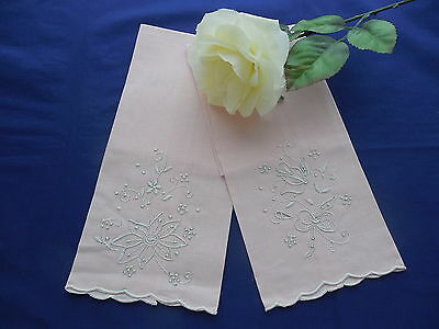 2 Pink Vintage Limbro Linen Guest Towels Portugal New With Tags