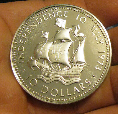 Bahamas - 1973 Huge Silver $10.00 Proof Coin