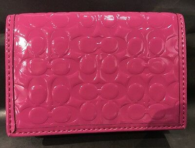 EXC Coach Embossed Pink Magenta Liquid Gloss Business ID Credit Card Cash Wallet