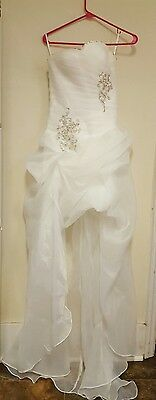 White Wedding Prom Strapless Hi Low Formal Dress Gown Size 10
