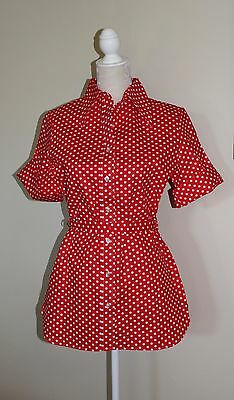 Vintage 60's Style Polka Dot Blouse Scalloped Red White Womens Town & Country