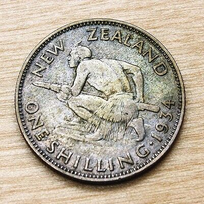 1934 New Zealand Shilling Silver