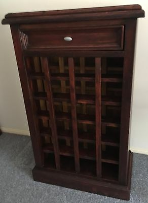 Wine rack recycled timber holds 24 bottles with drawer