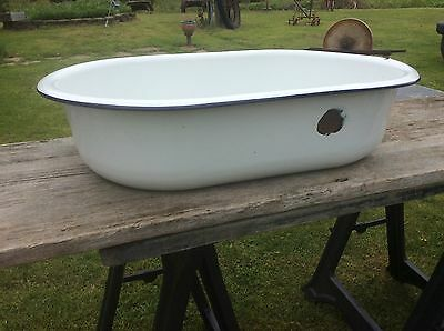 Large Porcelain Enameled Tub , White With Blue Stripe , Washtub 28 X 17 X 7