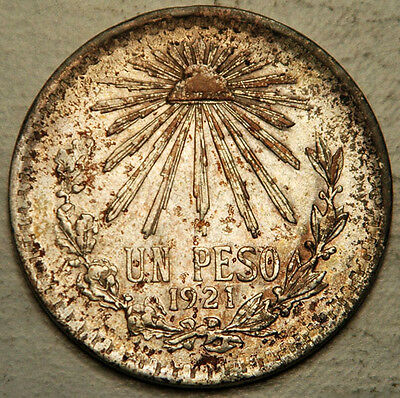 Mexico Silver 1 Peso 1921 (Key Date!) High Grade + Nice Toning!