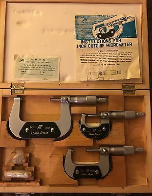 "Chuan Brand INCH OUTSIDE MICROMETER Set (0-1"", 1-2"", 2-3"") - w/2 Standards - NEW"