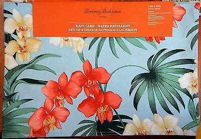 Tommy Bahama Home Water Repellent Floral PALM ORCHID Placemats - Set of 4 NIP