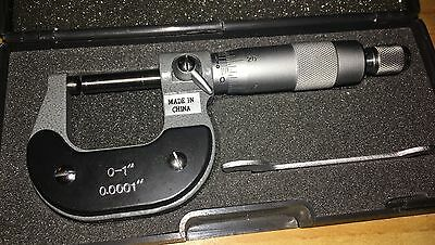 "Precision 0-1"" Outside Micrometer - .0001"" - Anvil Stop - Carbide Tipped - NEW"