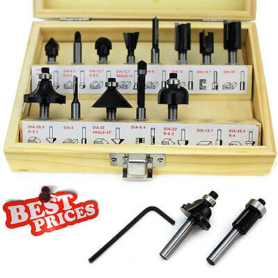 """15pc 1/4"""" Router Bit Set Shank Tungston Carbide Rotary Tool Wood Woodworking BLK"""