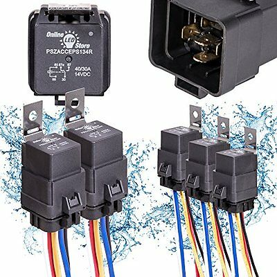 5 Pcs Automotive Relay Switch Harness 12AWG Wires Waterproof 40/30Amp 12VDC 5Pin