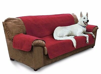Furhaven PET FURNITURE COVER SOFA Dog Cat Quilted Adjustable, 297x178cm- RED