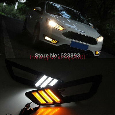 2x White Yellow LED Daytime Day Fog Lights DRL Run lamp for ford focus 2015-2017