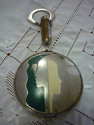 Art Deco Deauville Richard Hudnut Metal & Enamel Rouge/Powder/Mirror Compact