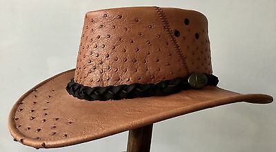 Genuine Ostrich Leather Hat Fashion Western Outback Exotic Unique Classical