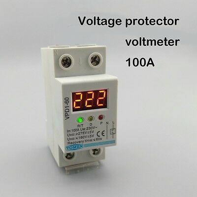 100A 220V Din rail over and under voltage protective device with voltmeter