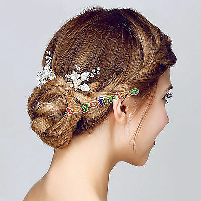 Bridal Jewelry Crystal Rhinestone Hairpin Flower Hair Clips Comb Wedding decor