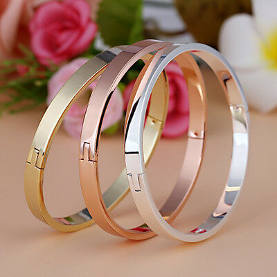Gold-plated Stainless Steel Women's Cuff Bangle Jewelry Crystal Bracelet Couple