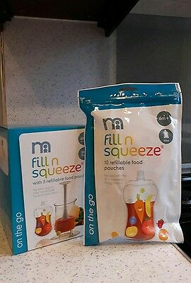 Brand New In Box Mothercare Fill In Squeeze Food With Free 13 Refillable Pouches