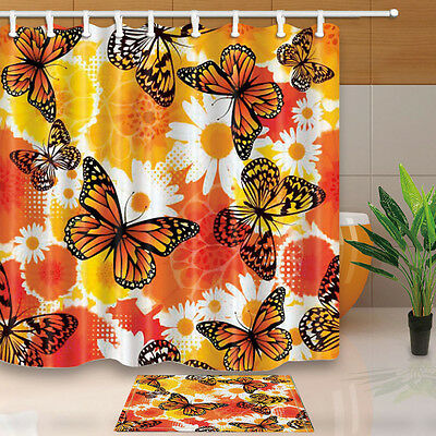 Butterfly And White Daisies Bathroom Shower Curtain Waterproof Fabric W 12 Hooks