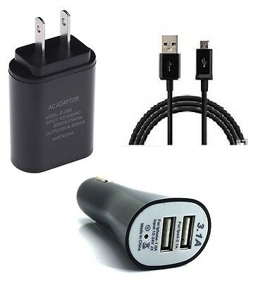 2 Amp  Wall+Dual Usb Car Adapter+5 Feet Micro Usb For Lg G Pad 10.1 Tablet