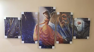 Disney Beauty And The Beast Framed Wall Canvas Children's Room