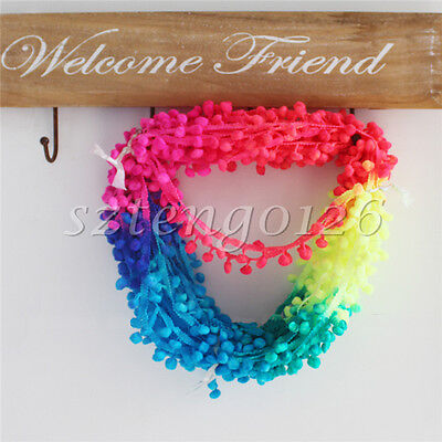 1M Large Ball Tassel Fringe Ribbon Ombre Rainbow Pom Pom Bobble Trim Braid Craft