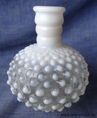 Anchor Hocking White Milk MOONSTONE Hobnail Perfume Bottle or Vase ca. 40's