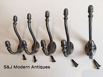 Double Coat Hook Iron Antique Modern Vintage Black Grey Hat Rack Acorn Old Set 5