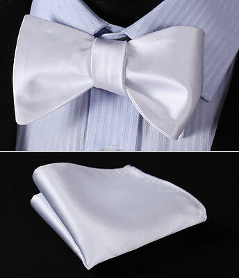 BL21WS White Solid Bowtie Men Silk Self Bow Tie handkerchief set