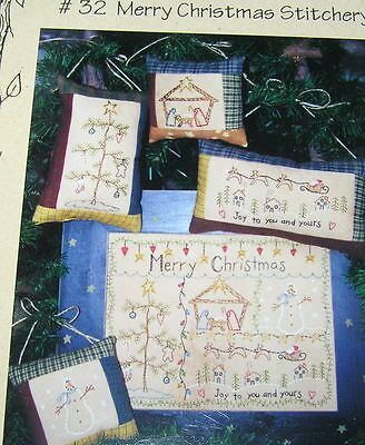 Merry Christmas Stitchery Pillow Panel Sew Quilt Embroidery Sampler Wallhanging
