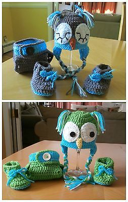 Owl outfit  Baby boy or baby girl  (0-3 months) crochet