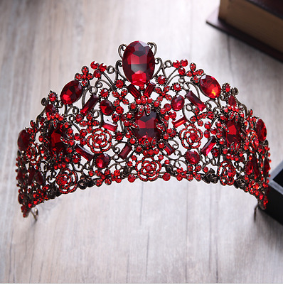 Luxury Red Crystal Tiara Wedding Party Pageant Prom Crown Hair Accessories