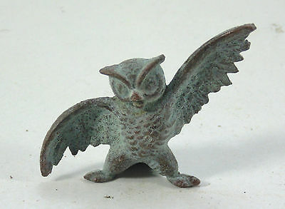 Reproduction Ancient Antique Roman Bronze Small Stand Owl Figurine Figure Statue