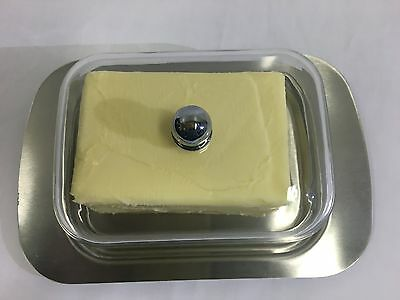 Stainless Steel Butter Dish with Clear Lid Butter Plate Margarine Storage